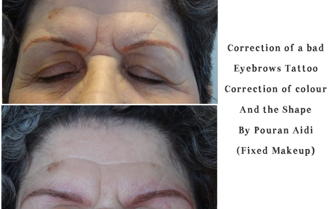 Fixing a Bad-shaped Eyebrow Tattoos or Colour Correction